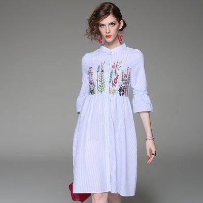 ストライプ 刺繍 7分袖 ミディアム キュート シャツ風 ワンピース