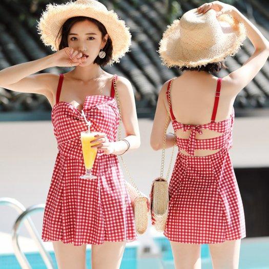 【2色】おしゃれ 可愛い リボン結び ギンガムチェック 水着 ワンピース リゾート 夏 海 ビーチ プール