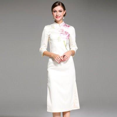 花柄 刺繍 チャイナドレス風 7分袖 上品 結婚式 ワンピース 全2色