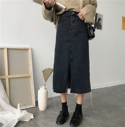 カットオフデニム ストリート スリット入りミモレ丈 タイト デニムスカート