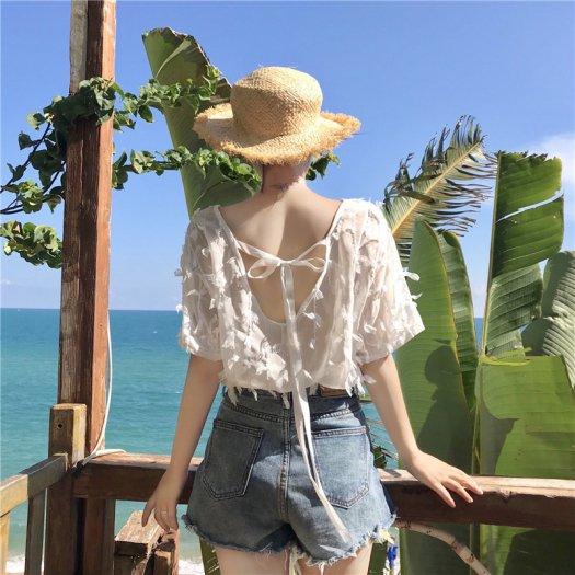 【2色】フェミニン 背中見せ バックリボン シフォン デザインシャツ シ?スルー 半袖 夏