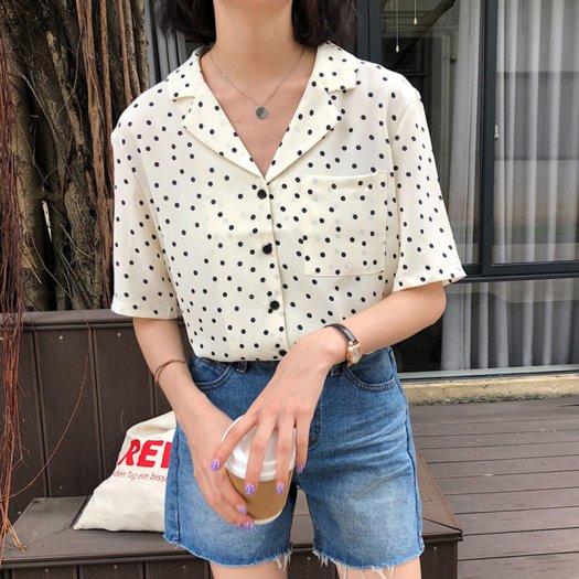 【2色】可愛い ドット ブラウス 白 黒 シャツ 半袖 カジュアル 春夏