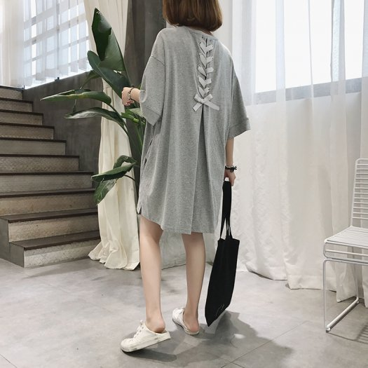 【2色】バックリボン ゆったり ビッグシルエット Tシャツ ワンピース 半袖 カジュアル 春夏