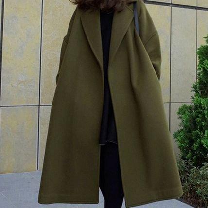 【2色】シンプル アースカラー オーバーサイズコート ロング チェスターコート ミモレ丈 秋冬