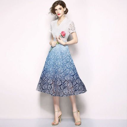 上品 透けウエストマーク ブルーグラデーション 花柄 レース バイカラー ミディアム 半袖 結婚式 お呼ばれ