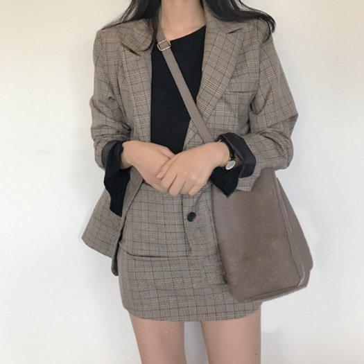 【2色】スーツ風 チェック柄 テーラードジャケット+スカート セットアップ ミニスカート タイト 秋冬