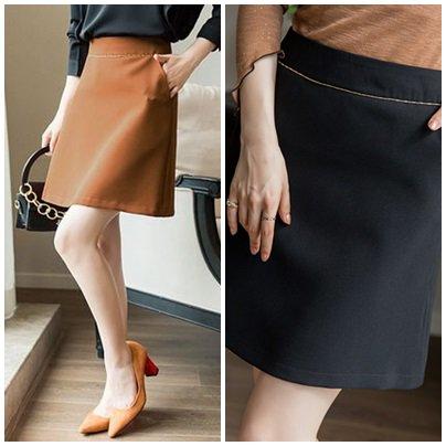 【2色】新作 なめらか秋色 美脚効果 きれいめ 台形スカート ショート 無地 エレガント 秋冬
