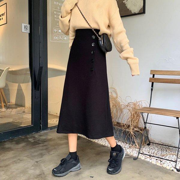 Aライン ボタンデザイン ロング ハイウエスト スカート