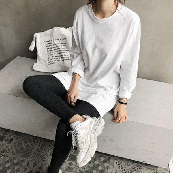 ロングTシャツ シンプル オーバーサイズ スリットエンド トップス