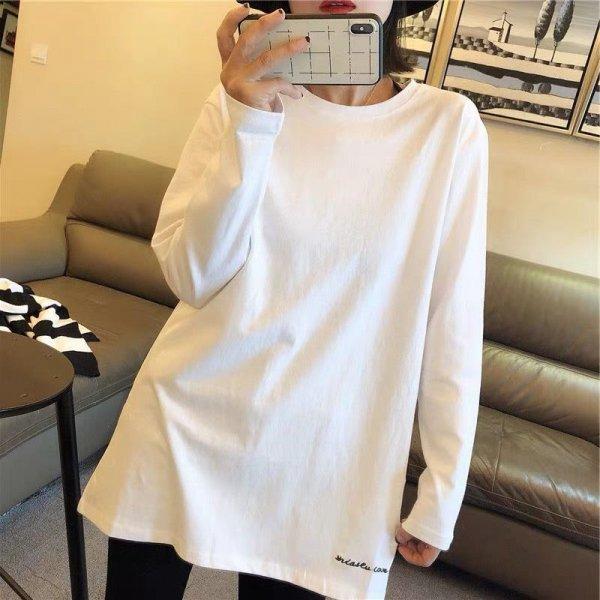 ラウンドネック カジュアル 刺繍ロゴ ロンT 長袖Tシャツ