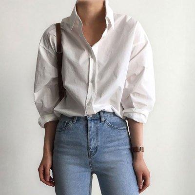 レディース ゆったり ニュートラル シングルブレスト 白シャツ