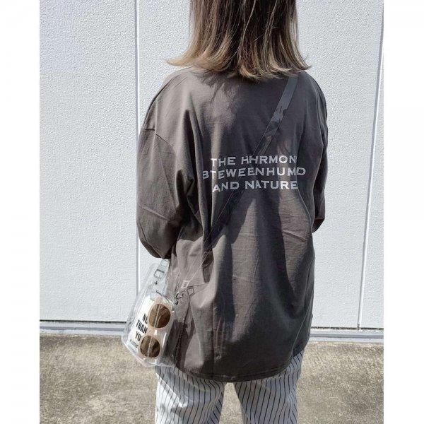 オーバーサイズ バックプリント 春秋 ルーズ 長袖 Tシャツ