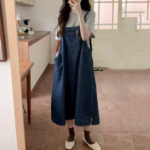 ジャンパースカート ロング丈 ポケット ゆったり サロペットスカート