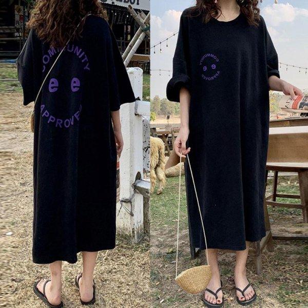 英字ロゴ オーバーサイズ ロング バックプリント ゆったり 半袖 黒 シャツ ワンピース