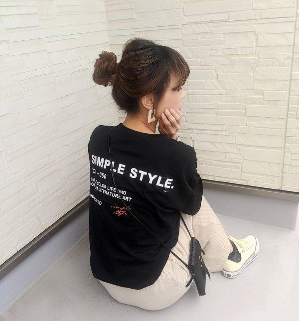 バックプリント 英字ロゴ 半袖 オーバーサイズ Tシャツ