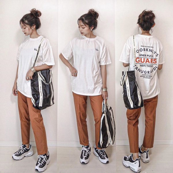 バックロゴ フロント 英字ロゴ プリント 半袖 オーバーサイズ Tシャツ