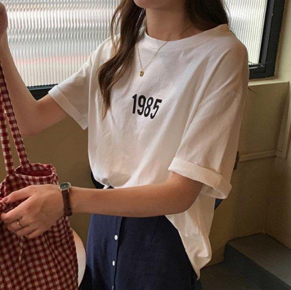フロント 1985ロゴ プリント 半袖 夏 オーバーサイズ  Tシャツ
