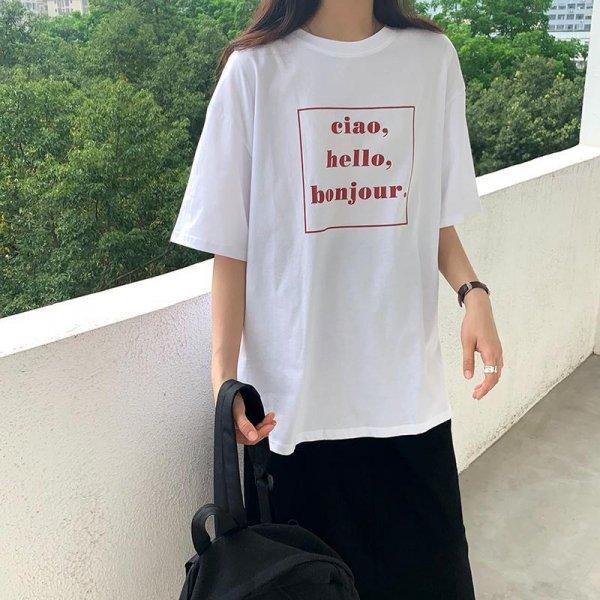 フロント 英字ロゴ プリント 半袖 オーバーサイズ 韓国 Tシャツ