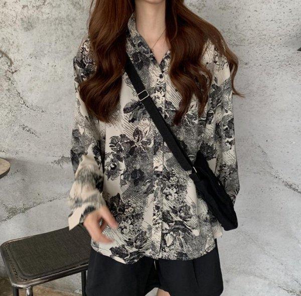 レディース プリント 長袖 韓国風 ブラウス 花柄 シアーシャツ