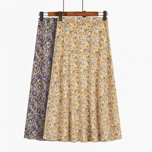 レトロ フレア ハイウエスト ロング丈 花柄スカート