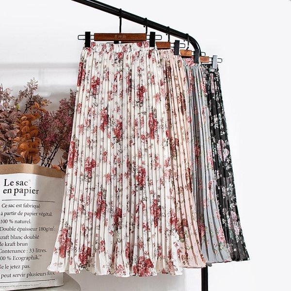 花柄 フレア 上品 きれいめ レトロ ウエストゴム プリーツスカート