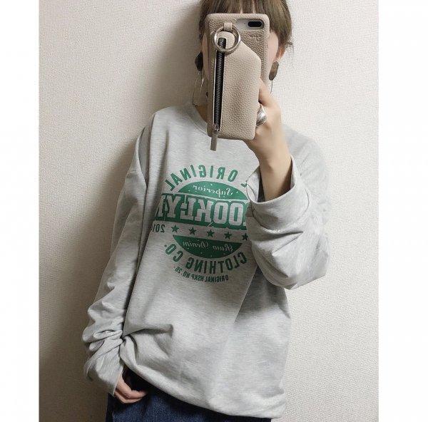 スウェット 英字プリント 長袖 秋冬 オーバーサイズ トレーナー