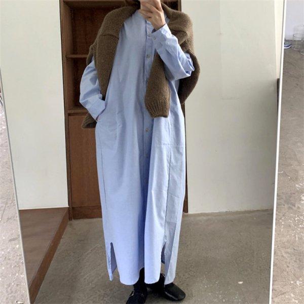ロング丈 オーバーサイズ 長袖 体型カバー 無地 シャツワンピース