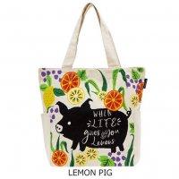 オーガニックコットンバッグ 「LEMON PIG」
