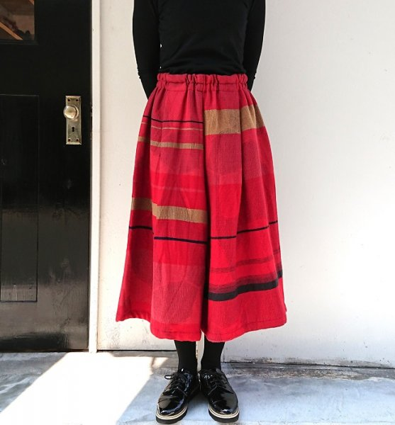 tamaki niime wide pants short wool×cotton