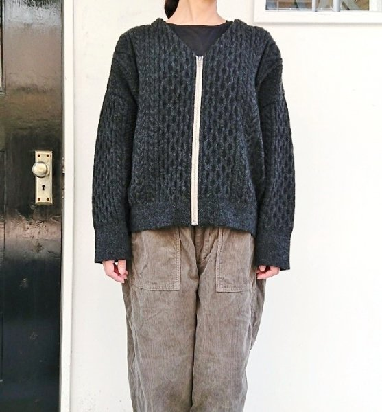 Ordinary fits CABLE KNIT ZIP CARDIGAN GRY
