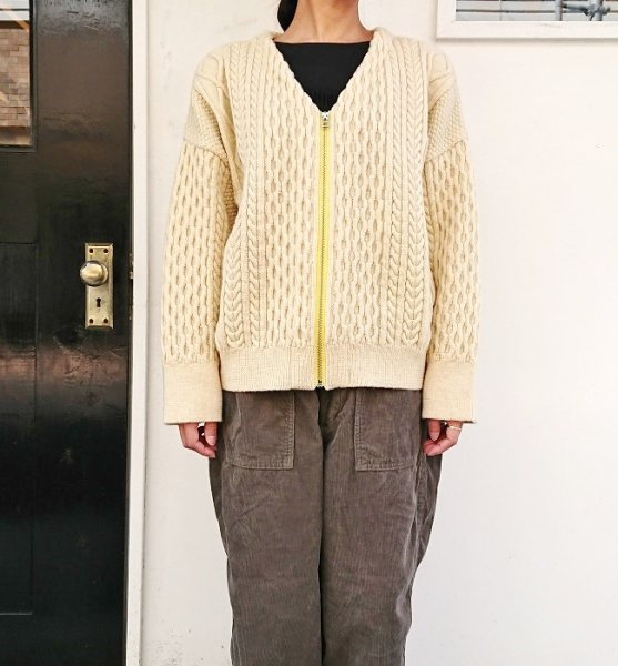 Ordinary fits CABLE KNIT ZIP CARDIGAN ECR
