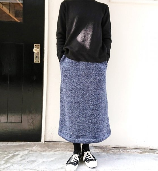 BETTER TWILL FLEECE SKIRT NAVY