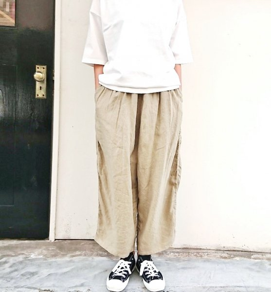 Ordinary fits  BALL PANTS linen BEG
