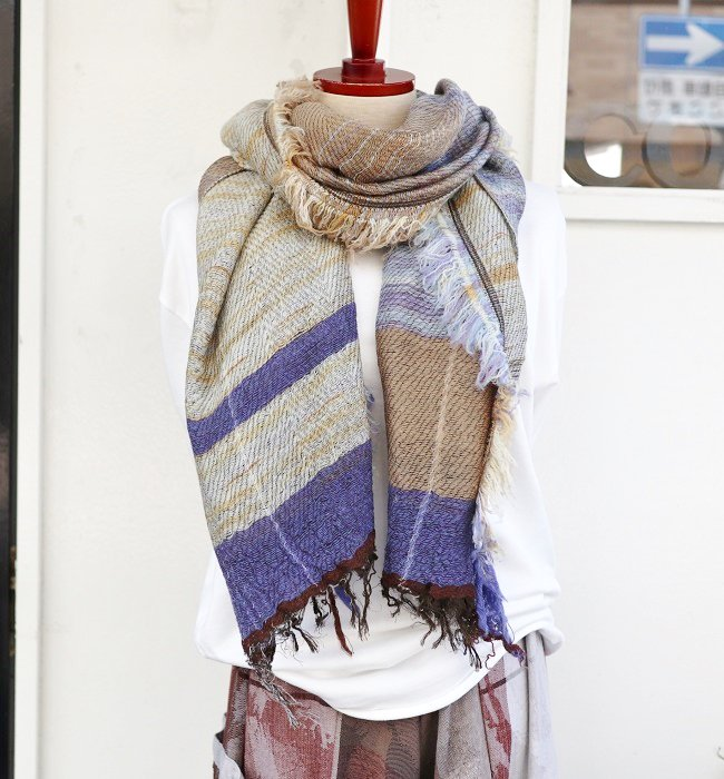 tamaki niime roots shawl middle wool×cotton