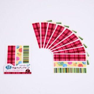 抗菌マスキングテープ JaponブロックチェックピンクS
