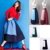 レトロなデザインがオシャレなミモレ丈フレアスカート マキシスカート ロングスカート 4色