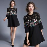 花柄 刺繍 レース 7分袖 七分袖 ワンピース 黒 ブラック ドレス 個性的 ゆったり