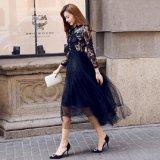 マキシワンピース ロングワンピース ロングドレス シック 黒 ブラック 花柄レース 刺繍 ドレスワンピ