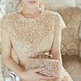結婚式 パーティー ワンピース チュニック ビジュー ドレス 花柄 袖あり