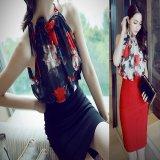 花柄シフォン タイトスカート ドレス風 セットアップ レディース おしゃれ 韓国 黒 赤 ブラック レッド