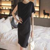 韓国ファッション アシンメトリー パーティードレス 黒 ブラック ワンピース 無地