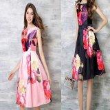 大きいサイズ 韓国 ロングドレス 花柄 ピンク ネイビー ノースリーブ パーティードレス マキシワンピース