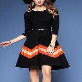 韓国ファッション ライン 黒 ブラック ワンピース フレア 7分袖 ひざ丈 ミモレ丈
