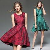 ジャカード バックリボン ワインレッド グリーン 韓国ドレス 韓国ワンピース ミニドレス ノースリーブ