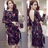 カラフル 韓国 ファッション 花柄レース 韓国ドレス 韓国ワンピース 黒 ブラック