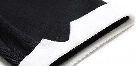 e8b6ae7476633 韓国ワンピース 黒 白 ブラック ホワイト モノトーン 襟付きワンピ 大人 ...