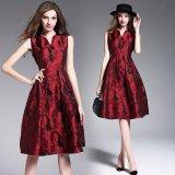 韓国ドレス 韓国ワンピ パーティー ミニワンピ ノースリーブ 赤 レッド Vネック