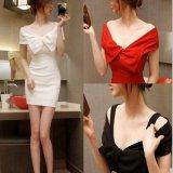 韓国ドレス 韓国ワンピ ホワイト レッド ブラック リボン オフショル オフショルダー