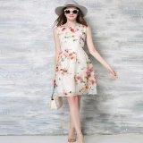 水彩画 ワンピース 韓国ドレス 花柄 ホワイト 白 ノースリーブ