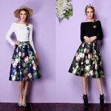 花柄スカート 韓国スカート ブルー 青 ブラック 黒 フレアスカート パーティー ミディアム